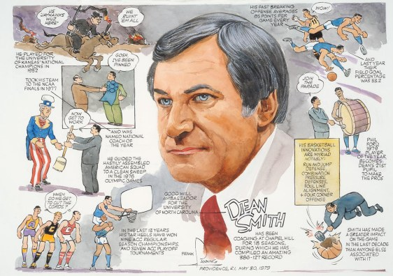 Cartoon depicting highlights of Dean Smith's career--ca. 1979.