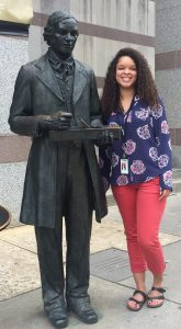 Summer intern Tori, with Thomas Day outside the Museum of History.